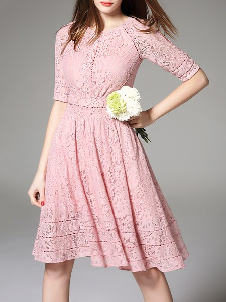 Pink Elegant Crew Neck Midi Dress