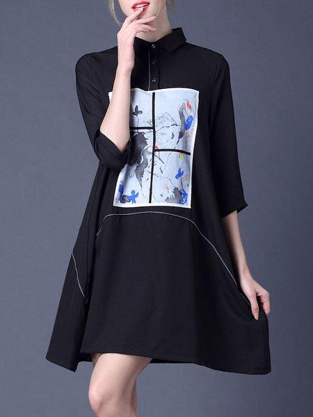 Black Shift Casual Shirt Dress