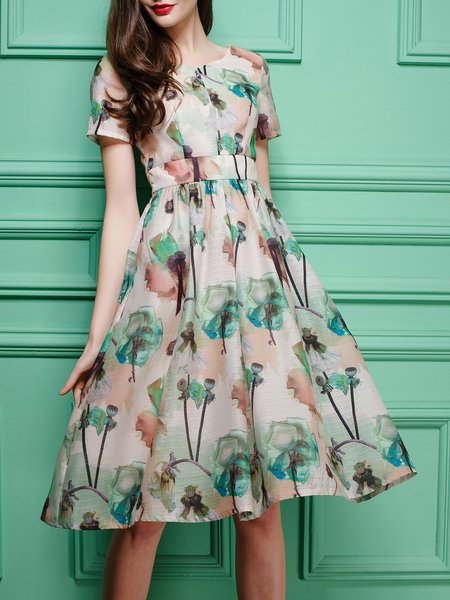 Apricot Short Sleeve Floral Midi Dress