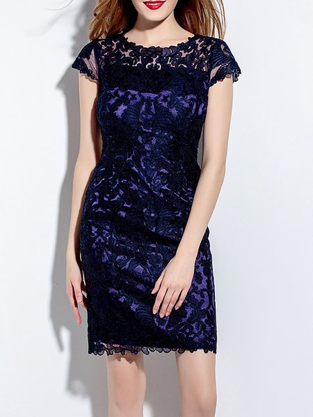 Cocktail Short Sleeve Sheath Mini Dress