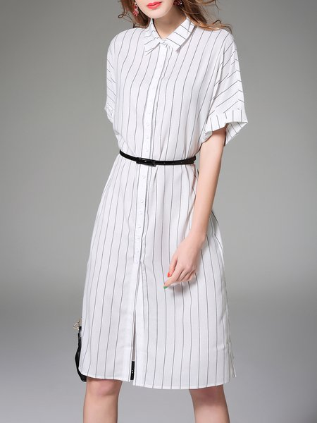 Simple Half Sleeve Shift Shirt Collar Stripes Shirt Dress with Belt