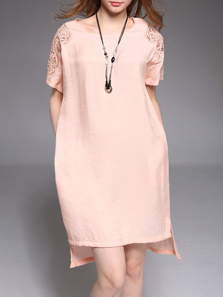 Sweet Crew Neck Asymmetric Short Sleeve Midi Dress