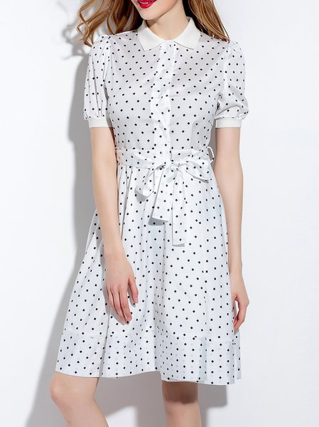 Simple Short Sleeve Shirt Collar Shirt Dress