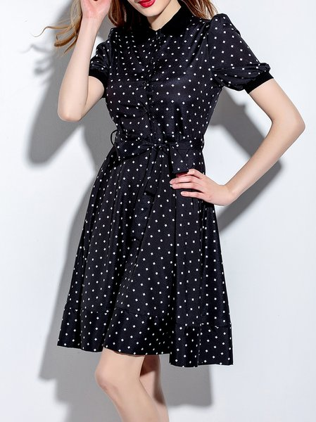 Black Shirt Collar Girly A-line Printed Shirt Dress