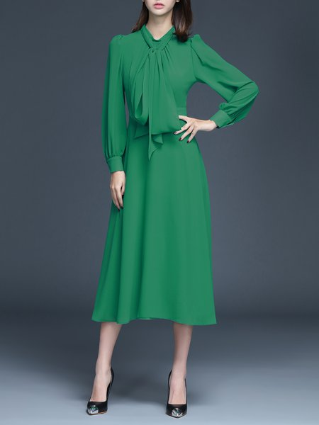 Green Casual A-line Plain Midi Dress