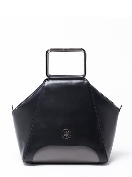 Black Small Cowhide Leather Top Handle