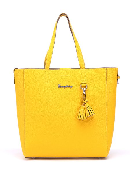 Yellow Casual Cowhide Leather Medium Tote