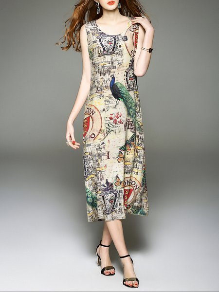 Sleeveless Silk Printed Casual Animal Print Midi Dress