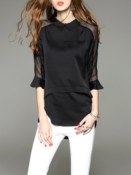 Black Polyester Casual H-line Tunic