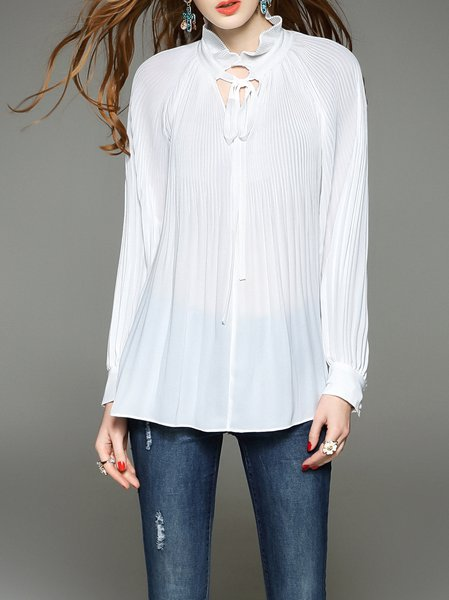 White H-line Balloon Sleeve Plain Silk Tunic