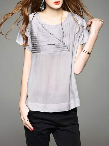 Polyester Short Sleeve Plain Casual H-line Blouse