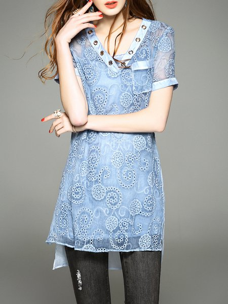 Blue Pierced Silk H-line Casual Tunic