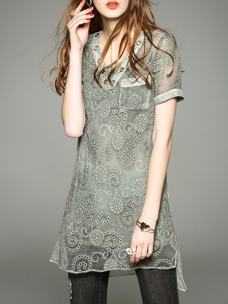 Green Short Sleeve Silk Pierced Tunic