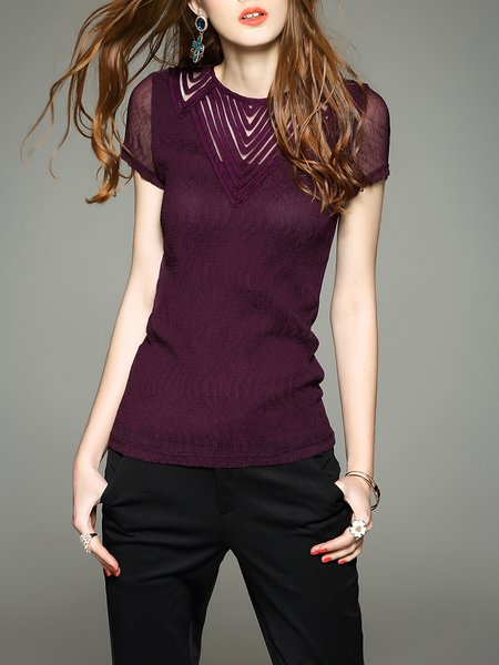 Burgundy Short Sleeve Polyester Blouse