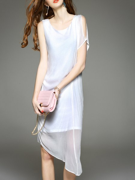 Sleeveless Asymmetrical Silk Simple Asymmetric Midi Dress