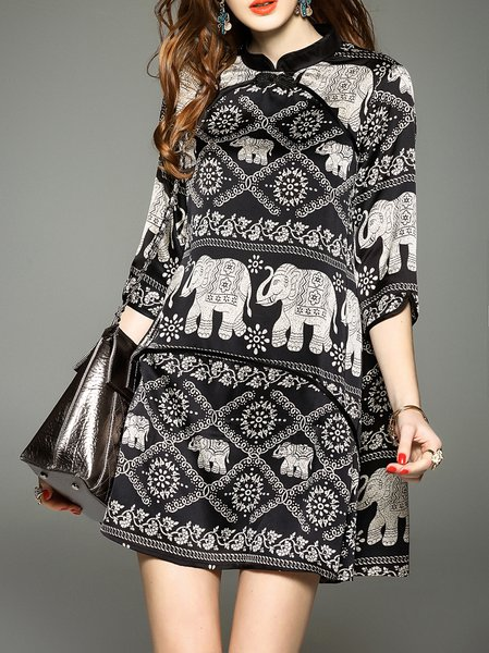 Polyester Vintage Printed 3/4 Sleeve A-line Mini Dress