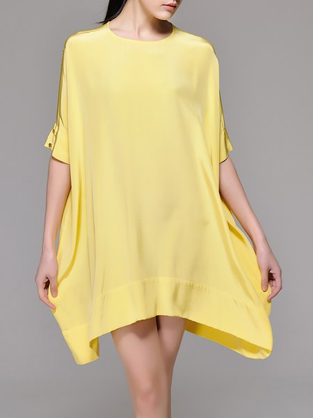 Casual Asymmetric Half Sleeve Silk Mini Dress
