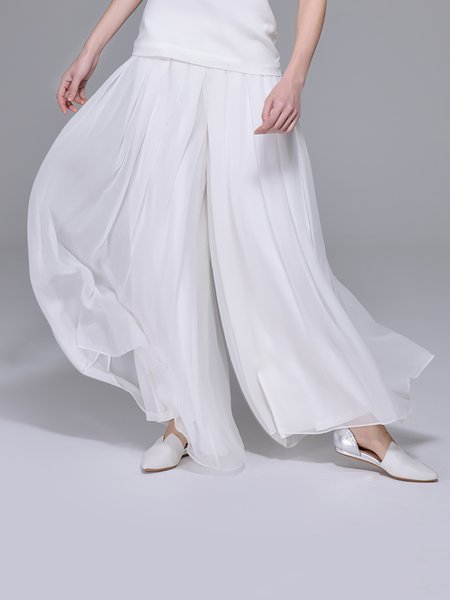White Casual Plain Shirred Culottes Pants