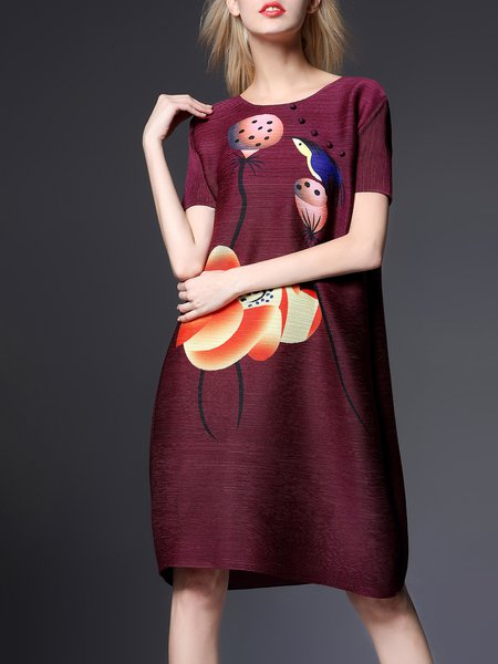 A-line Polyester Casual Short Sleeve Midi Dress