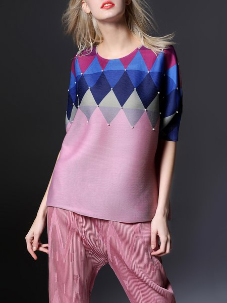 Pink Casual Color-block Blouse