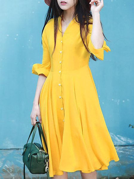 Yellow A-line Half Sleeve Buttoned Shirt Dress