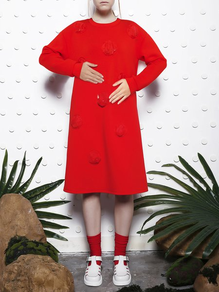Red Appliqued Viscose Shift Long Sleeve Midi Dress