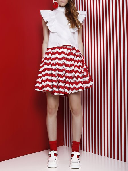 Red Stripes Tiered Casual Mini Skirt