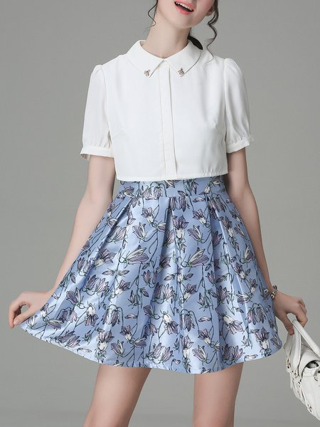 Short Sleeve Casual Floral A-line Crew Neck Mini Dress