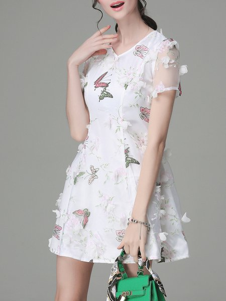 Casual Printed Short Sleeve Organza Mini Dress