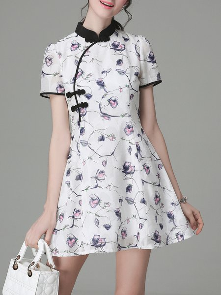 Polyester Sweet Floral-print Floral Short Sleeve Mini Dress