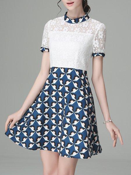 White Woven Short Sleeve Crew Neck A-line Mini Dress