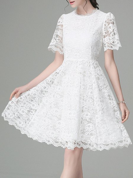 White Floral Sweet A-line Midi Dress