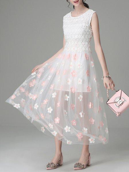 Pink Sleeveless Paneled Midi Dress