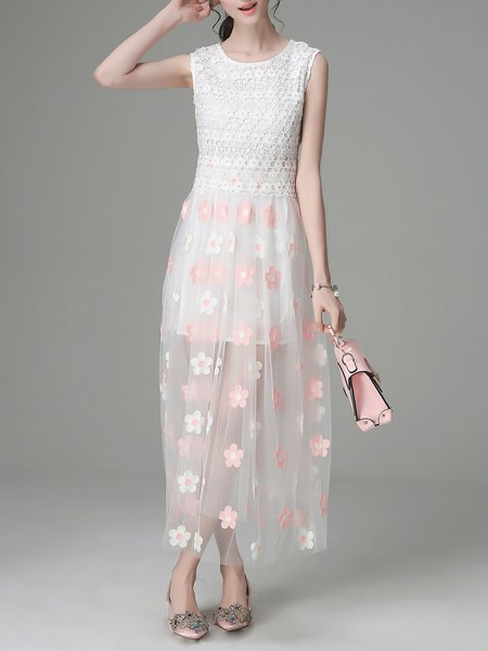 Pink Girly Swing Lace Midi Dress
