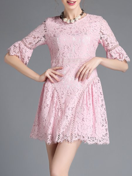 Plain Half Sleeve A-line Casual Mini Dress