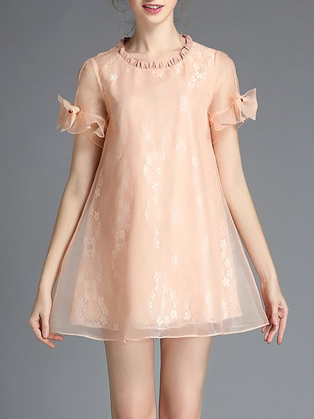 Casual Short Sleeve Organza Crew Neck Mini Dress