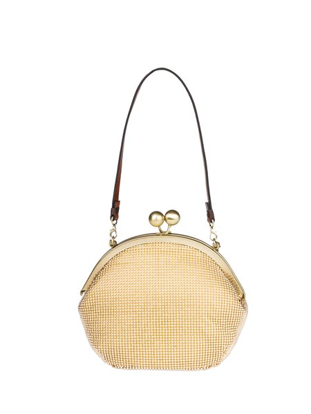 Golden Aluminum Sequins Retro Fold-over Flat Top Crossbody