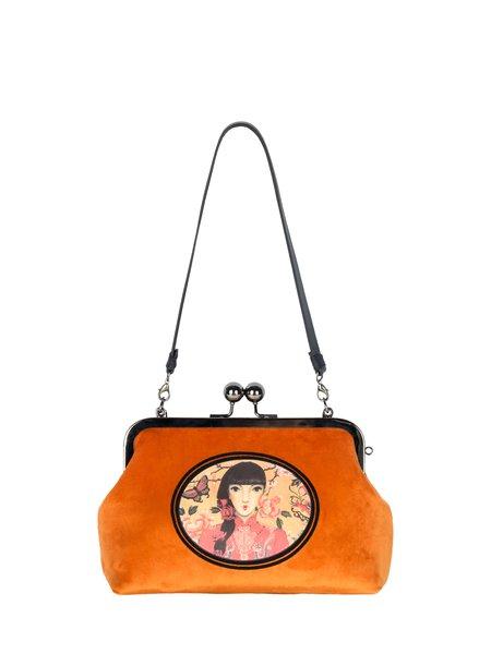 Orange Retro Kiss Lock Printed Velvet Crossbody Bag