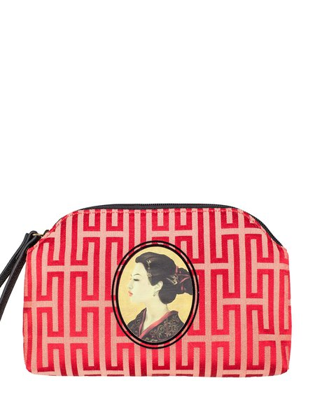 Red Cotton Retro Zipper Clutch