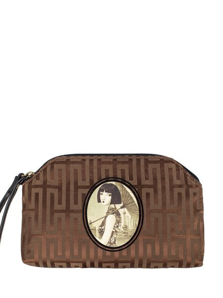 Brown Zipper Casual Clutch