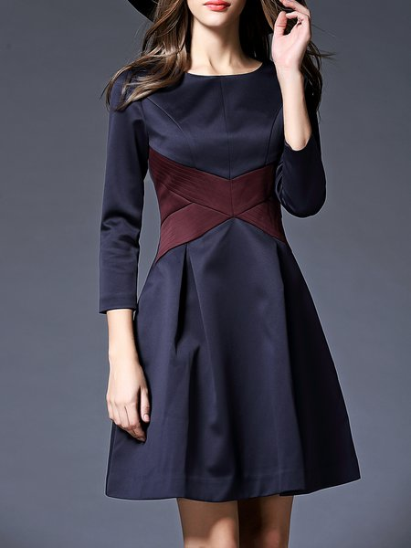 Blue Crew Neck Long Sleeve Color-block Midi Dress