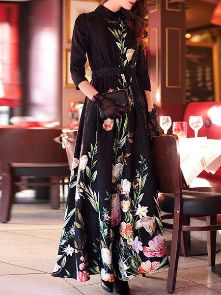 3/4 Sleeve Casual A-line Maxi Dress