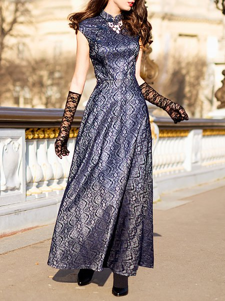 Blue Vintage Polyester Jacquard Maxi Dress