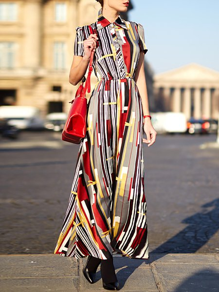 Multicolor Casual Polyester Shirt Dress