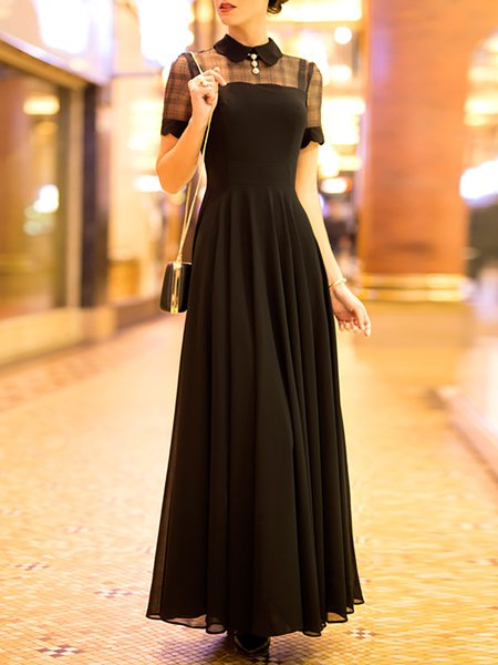 Simple A-line Short Sleeve Crew Neck Chiffon Maxi Dress