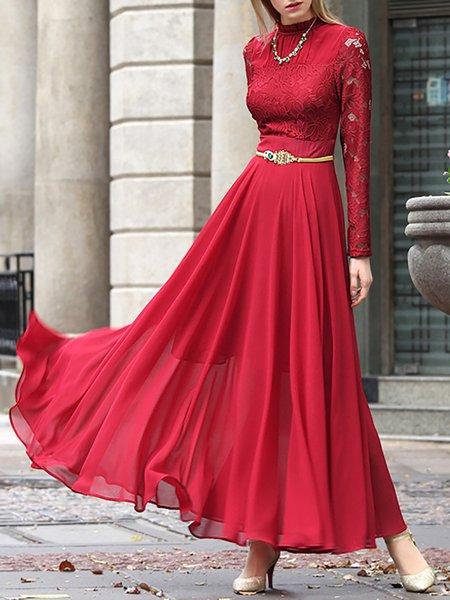 Red Chiffon Simple Maxi Dress