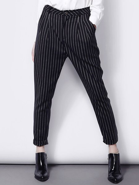 Black Casual Pockets Viscose Straight Leg Pants