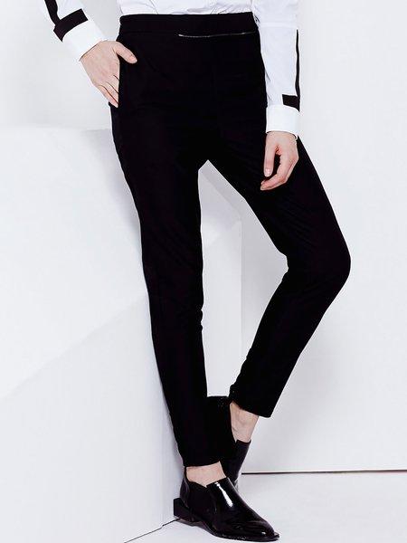 Black Plain Casual Zipper Polyester Straight Leg Pants