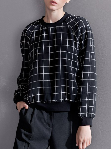 Black Crew Neck Casual Checkered/Plaid Polyester Sweatshirt