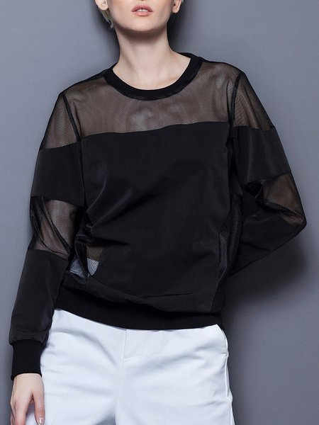 Black Casual Crew Neck Plain Paneled Blouse